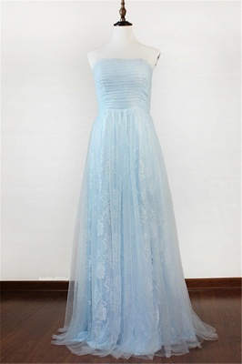 Ice Blue Strapless Lace Applique Prom Dresses  Elegant Sweep Train Sheath Homecoming Dresses_1
