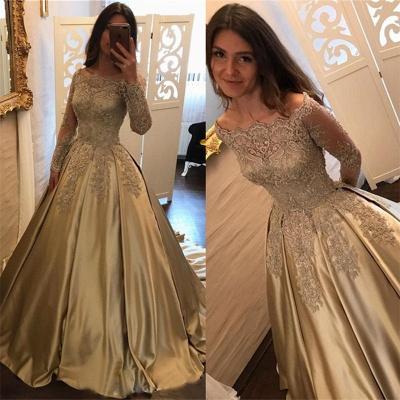 Long Sleeve Gold Lace Appliques Prom Dress  Elegant Puffy Formal Evening Dress BA7165_4