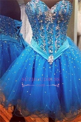 Sparkly Sequins Blue Sweetheart  Rhinestones Organza Lace-Up Homecoming Dresses_1