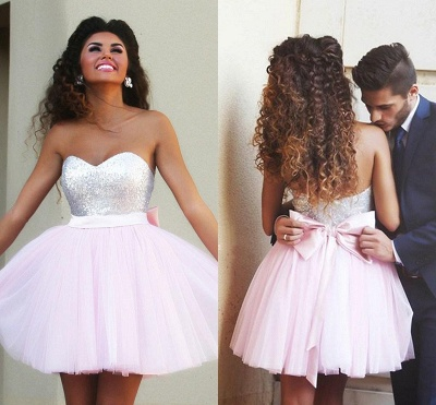 New Arrival Cute Pink Sweetheart Mini Homecoming Dress Sequined Bowknot  Short Cocktail Dress_3