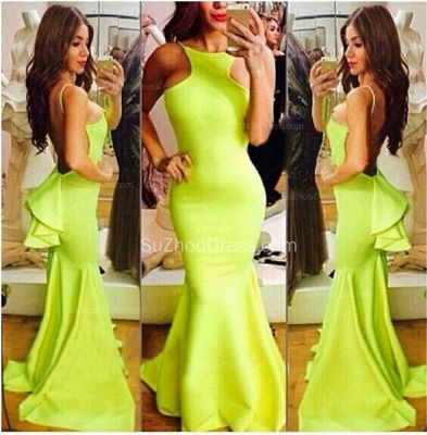 Fluorescent Green Prom Dresses  High Neck Sleeveless Mermaid Sweep Train Ruffles Sexy Backless Charming Evening Gown_2