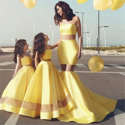 Bright Yellow Sext Mermaid Evening Dresses  | Strapless See Through  Bridesmaid Dress_3