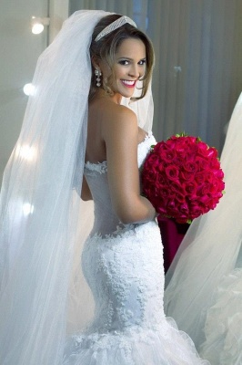 Elegant Strapless Sheath  Wedding Dresses Organza Sheer Back Mermaid Bridal Dresses BO7794_3