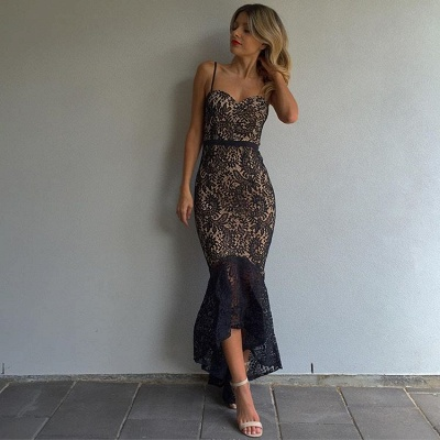 Black Lace Mermaid Prom Dresses  Spaghetti Straps Hi-Lo Evening Gowns BA7812_3