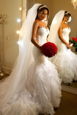 Elegant Strapless Sheath  Wedding Dresses Organza Sheer Back Mermaid Bridal Dresses BO7794_1