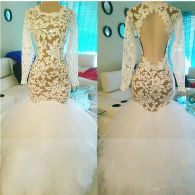 Sexy Mermaid Long Sleeves Prom Dresses Lace Open Back Evening Dresses BA7972_3