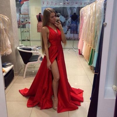 Sexy Side Slit Prom Dresses  V-neck Stretch Satin  Evening Gowns CE0015_3
