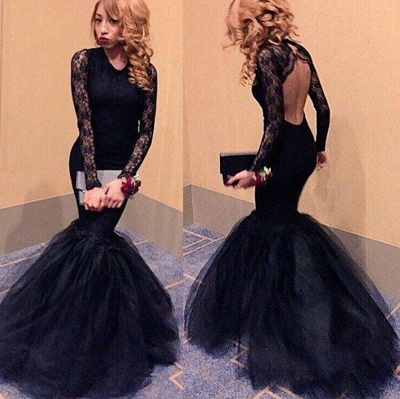 Black Mermaid Lace  Prom Dresses Long Sleeve Sexy Shenth Evening Gowns_3