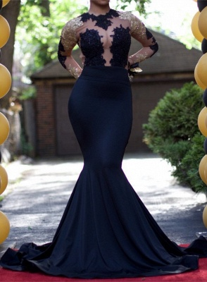 Black Mermaid Gold Lace-Appliques Sexy Long-Sleeve Prom Dress  PT0205_5