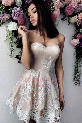 Simple Appliques Sweetheart A-line Short Homecoming Dress_1