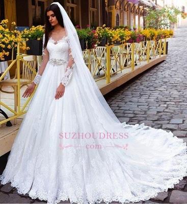 Elegant Princess Crystal Lace Long-Sleeve Wedding Dresses_1