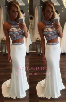 High Neck Crystals Mermaid Evening Dresses  Two Pieces Popular Prom Dress BA3593_3