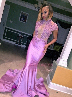 Illusion Lilac High Neck   Cap Sleeve Appliques Flowers Mermaid Prom Dress_1