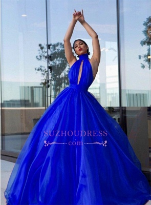 Royal Blue High Neck Prom Dresses  | Open Back A-line Evening Dress with Keyhole_3