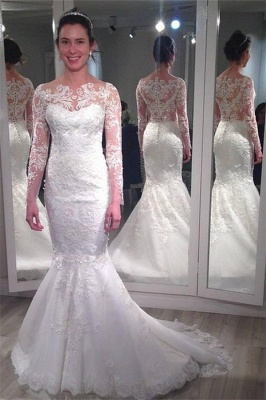 Lace Long Sleeve Wedding Dresses  Vintage Mermaid Bridal Gowns with Appliques_1