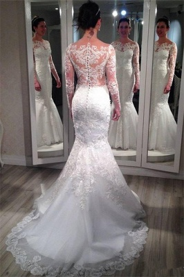 Lace Long Sleeve Wedding Dresses  Vintage Mermaid Bridal Gowns with Appliques_3