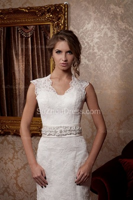 Sexy Mermaid Lace Bridal Dress Scalloped-edge Sweep Train Wedding Dress with Flower Sash_1