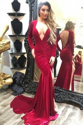 Long Sleeve Sexy V-neck Evening Dress Burgundy Velvet Open Back Prom Dress with Front Slit_1