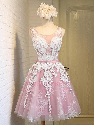 Sash Sleeveless Lace Lace-Up Pink Appliques Open-Back Jewel Homecoming Dresses_4