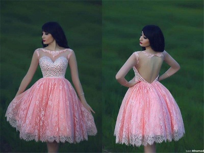 Cute Pink Lace Crystal Short Homecoming Dresses Open Back Mini Designer Fitted Cocktail Dress for Juniors_3