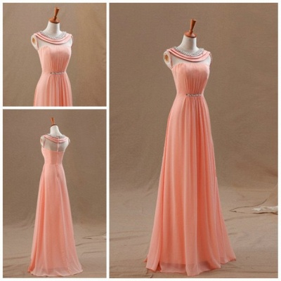 High Neck Long Peach Prom Dresses for Junior with Crystal Collar Sash Chiffon Popular Pretty Evening Gowns_2
