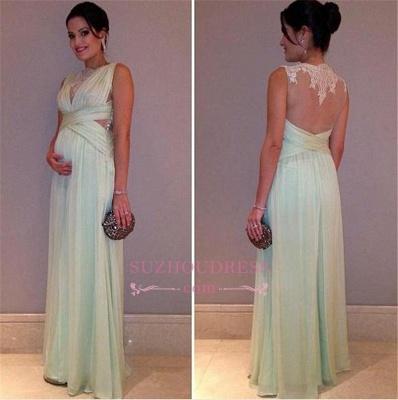 Sleeveless Elegant Chiffon Lace A-line Maternity Long Prom Dress_3