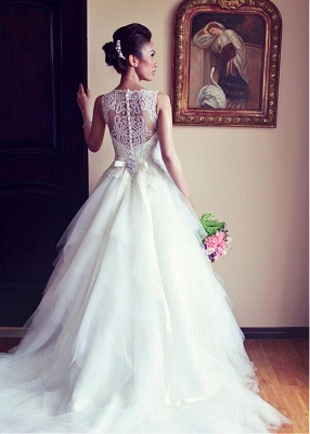 Latest Crystal White Tulle Wedding Dress with Beadings Court Train Lace Formal Bridal Gown_1