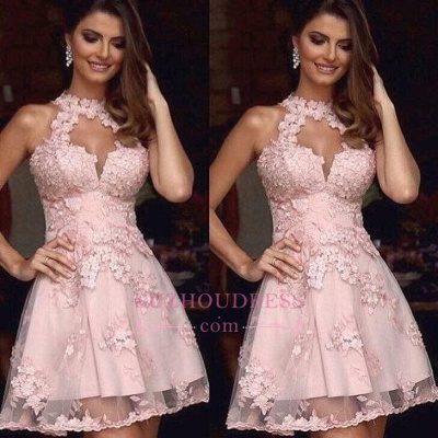 A-Line Halter Appliques Pink Tulle Short Homecoming Dress BA3643_3
