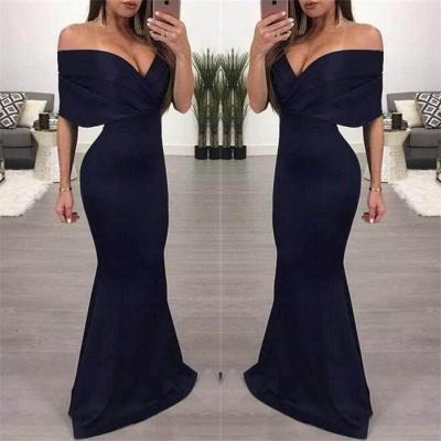 Sexy Simple Off Shoulder Evening Dresses |  Mermaid Ruffles Prom Dresses_3