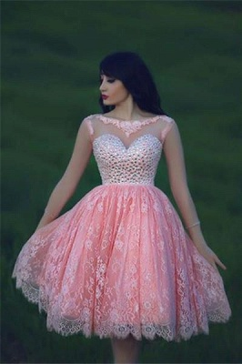 Cute Pink Lace Crystal Short Homecoming Dresses Open Back Mini Designer Fitted Cocktail Dress for Juniors_1