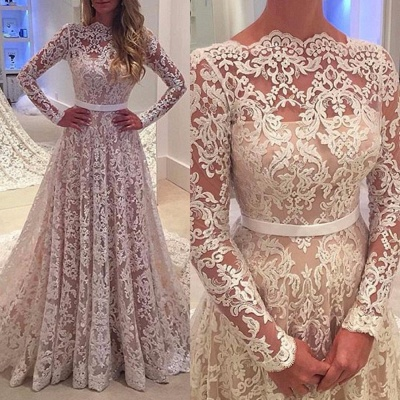Elegant Long Sleeves Lace Evening Gowns Backless Bowknot A-Line Wedding Dress  BA3858_3