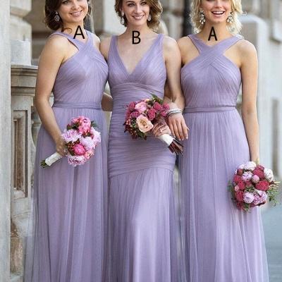 Tulle Halter-Neck Elegant Ruched Lavender Long Bridesmaid Dresses_3