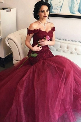Off The Shoulder Burgundy Lace Evening Gowns Tulle Mermaid  Prom Dresses BA4286_3