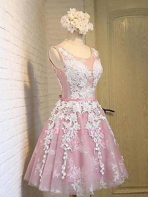 Sash Sleeveless Lace Lace-Up Pink Appliques Open-Back Jewel Homecoming Dresses_3