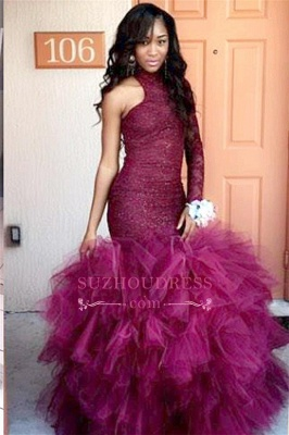 Tulle Sheath Latest Lace High-Neck Puffy Specail One-Sleeve Prom Dress  JJ0114_1
