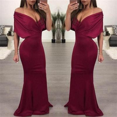 Sexy Simple Off Shoulder Evening Dresses |  Mermaid Ruffles Prom Dresses_4