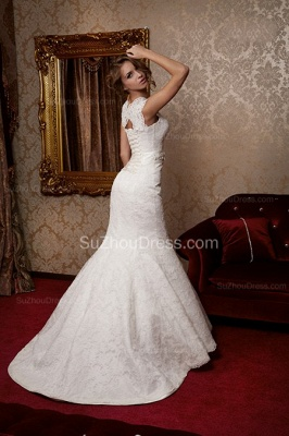 Sexy Mermaid Lace Bridal Dress Scalloped-edge Sweep Train Wedding Dress with Flower Sash_2