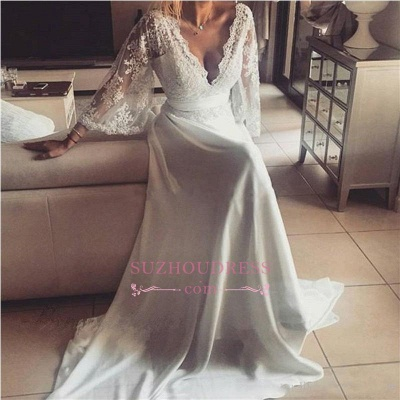 A-Line Elegant Formal Dress  Lace Long V-Neck Chiffon Evening  Dresses_1