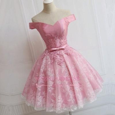 Pink Elegant Bowknot A-line Off-the-Shoulder Appliques Homecoming Dress qq0369_1