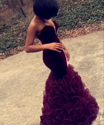 Pretty Burgundy Prom Dresses  Strapless Sheath Ruched Organza Evening Dress CE076_2