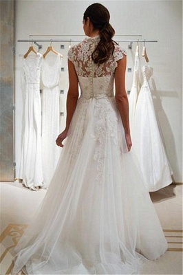 A-line Cap Sleeve Wedding Dress V-neck Lace Appliques Bridal Gowns with Buttons_3
