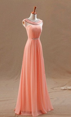 High Neck Long Peach Prom Dresses for Junior with Crystal Collar Sash Chiffon Popular Pretty Evening Gowns_1