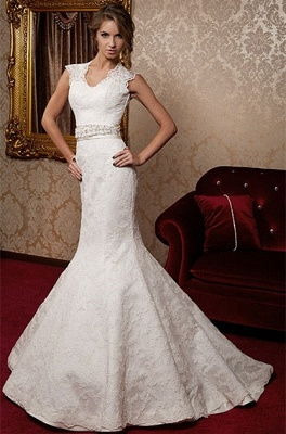 Sexy Mermaid Lace Bridal Dress Scalloped-edge Sweep Train Wedding Dress with Flower Sash_3