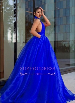 Royal Blue High Neck Prom Dresses  | Open Back A-line Evening Dress with Keyhole_1
