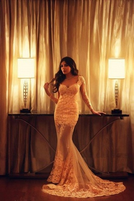 Long Sleeve Mermaid Lace Evening Dress New Arrival Sexy Long Formal Occasion Dresses_5