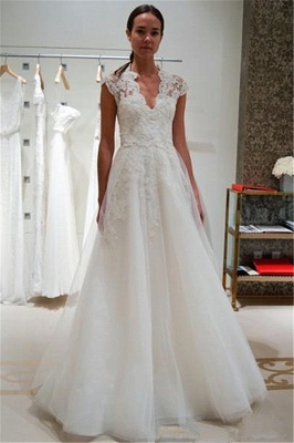 A-line Cap Sleeve Wedding Dress V-neck Lace Appliques Bridal Gowns with Buttons_1