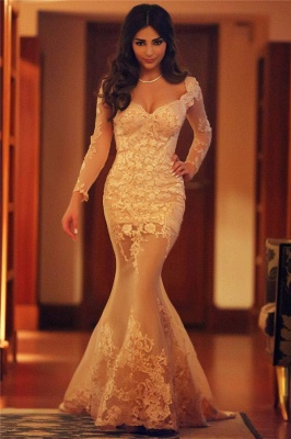 Long Sleeve Mermaid Lace Evening Dress New Arrival Sexy Long Formal Occasion Dresses_7