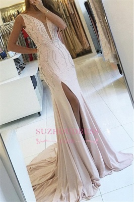 Side Slit Sleeveless V-neck Formal Evening Gown Sweep Train Two Straps Mermaid Prom Dress_3
