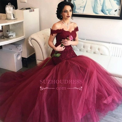 Off The Shoulder Burgundy Lace Evening Gowns Tulle Mermaid  Prom Dresses BA4286_1