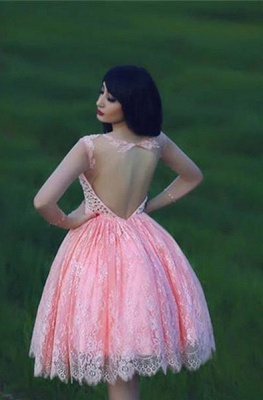 Cute Pink Lace Crystal Short Homecoming Dresses Open Back Mini Designer Fitted Cocktail Dress for Juniors_2